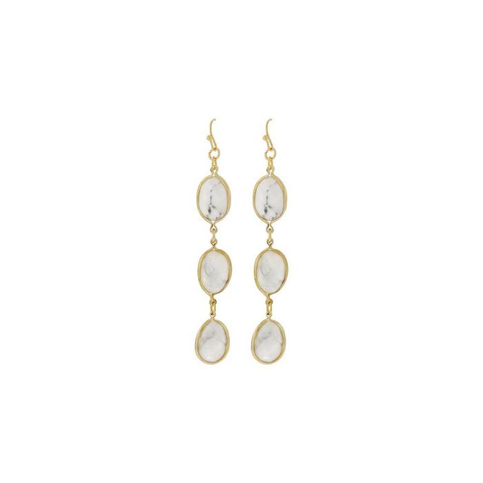 Triple White Stone Drop Earrings