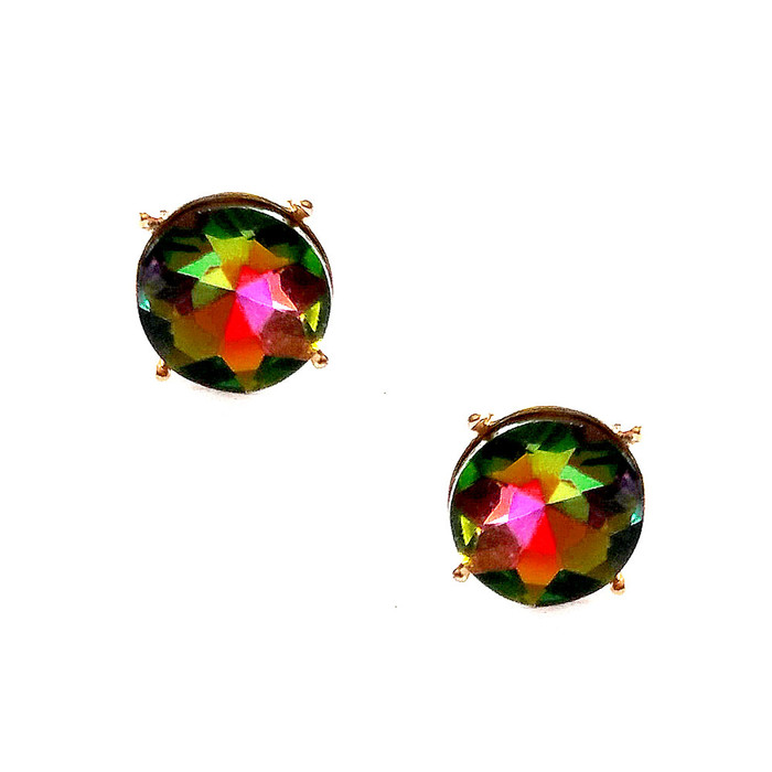 Dark Vitrail Solitaire Crystal Post Earrings In Gold Setting with Center Posts/Studs