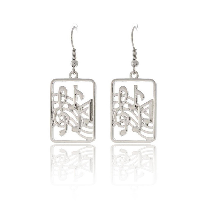 Silver Musical Drop Earrings