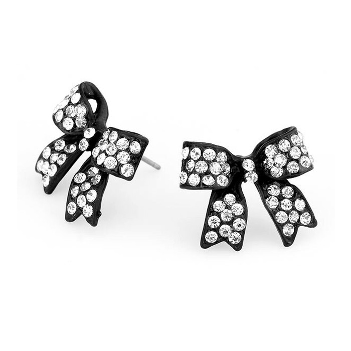 Black Bow Post Earrings with Clear Crystals