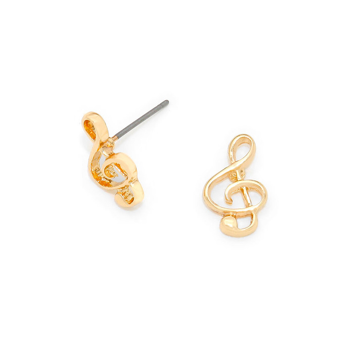 Mini Golden Treble Clef Post Earrings
