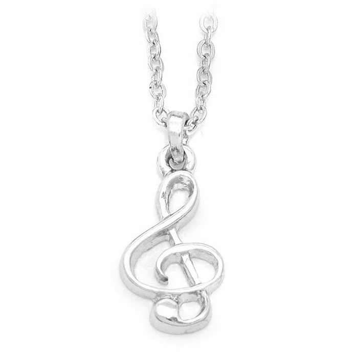 Mini Silver Treble Clef Necklace