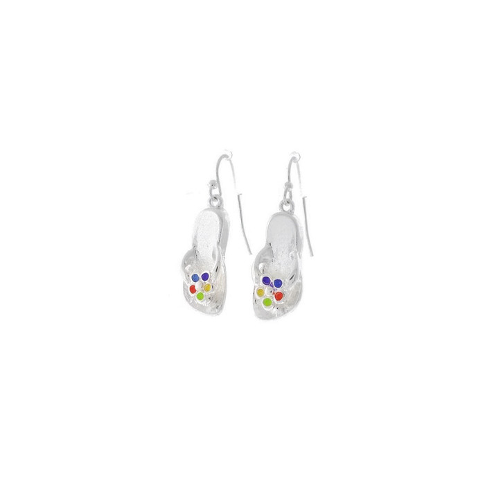 Silver Flip-Flop Drop Earrings with Enameled Daisies