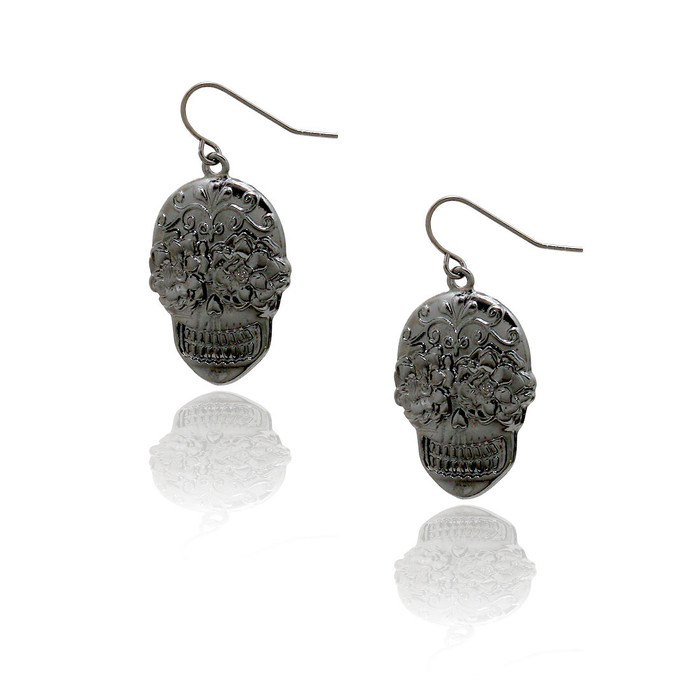 Gunmetal Sugar Skull Drop Earrings