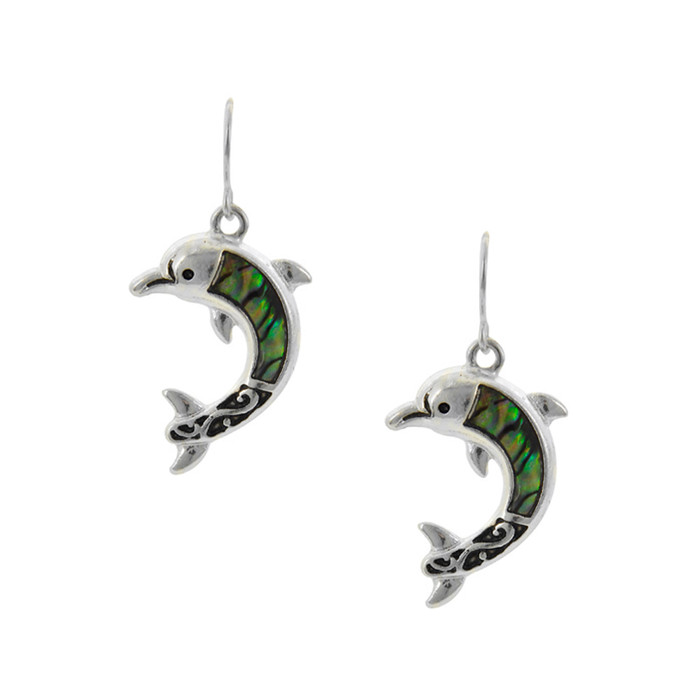 Silver Filigree Dolphin Drop Earrings with Abalone Inlay