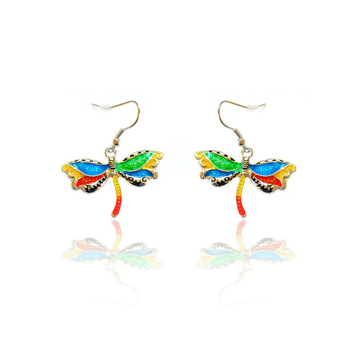 Multicolored Enameled Dragonfly Drop Earrings