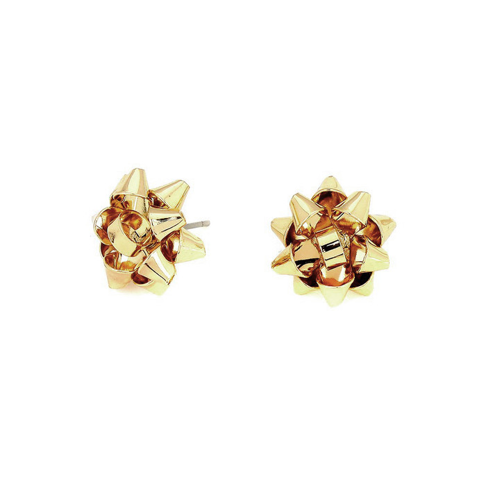Golden Gift Bows: Metal Post Earrings