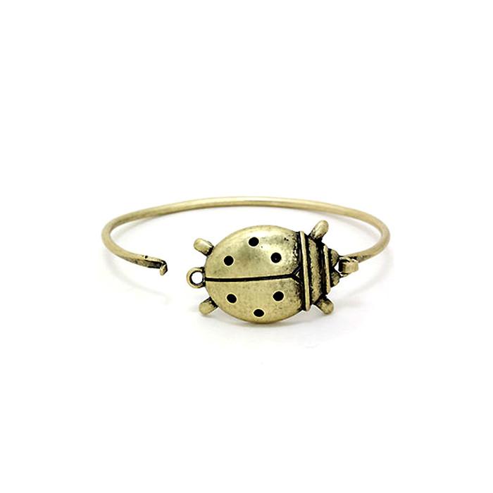 Antiqued Gold Ladybug Bangle
