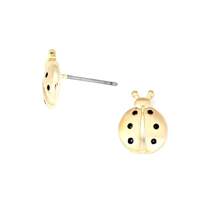 Matte Gold Ladybug Post Earrings