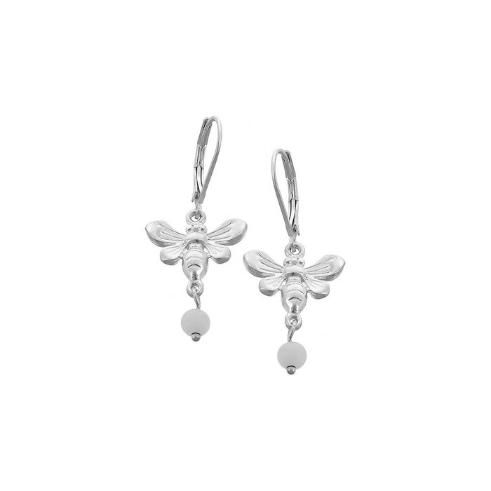 Matte Silver Bee Leverback Drop Earrings with White Bead