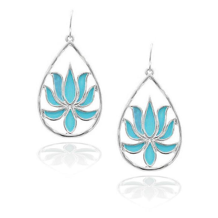 Silver Lotus Teardrop Earrings with Turquoise Enamel