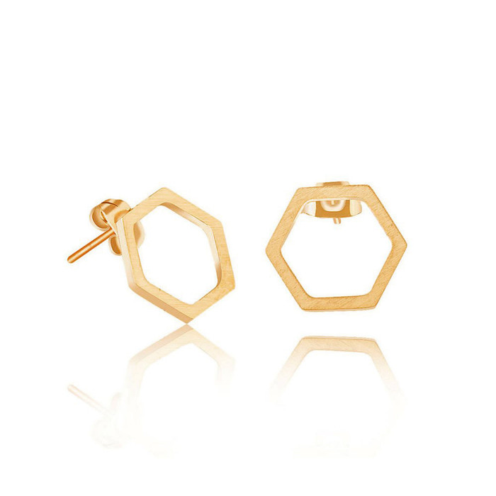 Golden Single Honeycomb Post Earrings