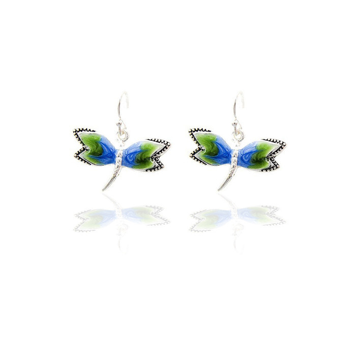 Blue-Green Enameled Dragonfly Drop Earrings
