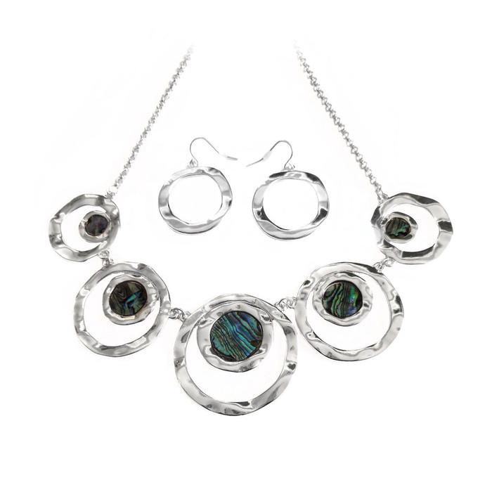Silver and Abalone Circle Necklace and Drop Earring Set