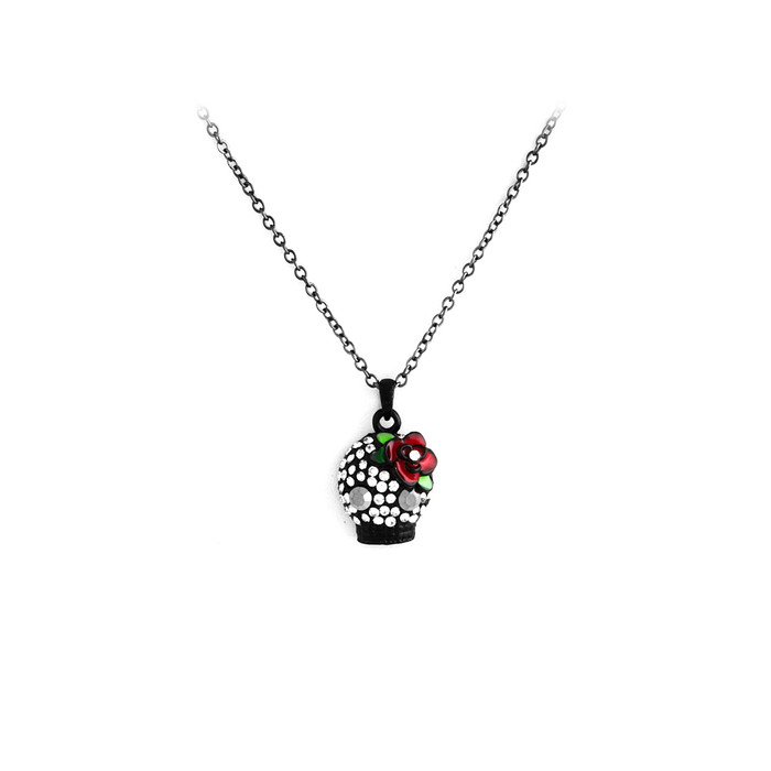 Bejeweled Black Sugar Skull Necklace