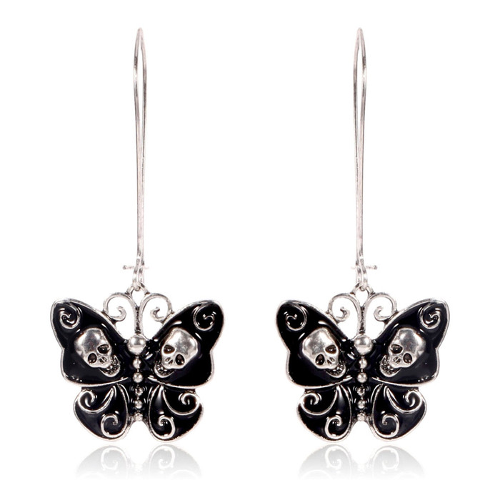 Black and Silver Skull and Swirl Butterfly Long-Hook Drop Earrings