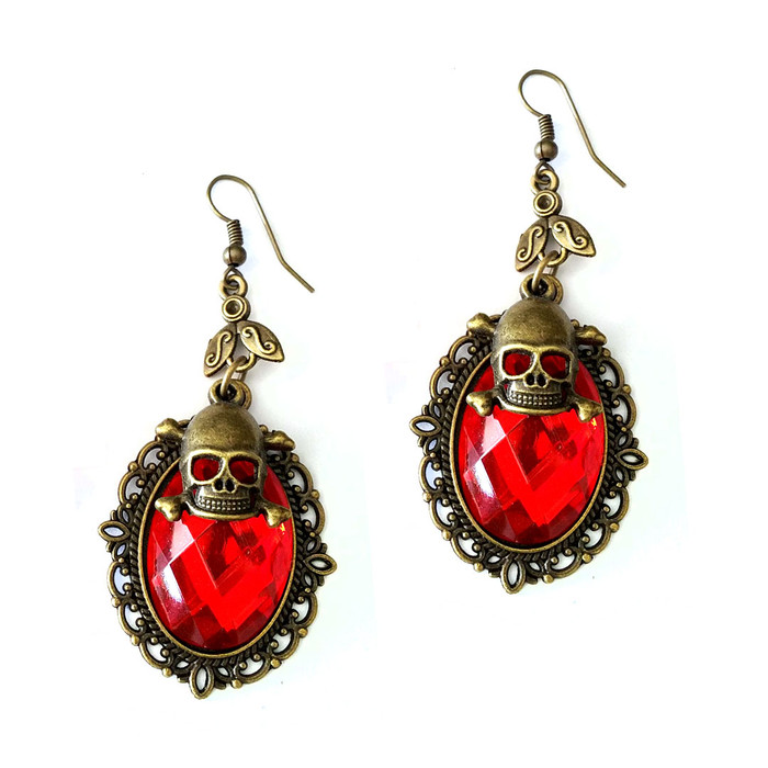 Vibrant Red Crystal Steampunk Drop Earrings with Antiqued Gold Bezel and Skull Charm