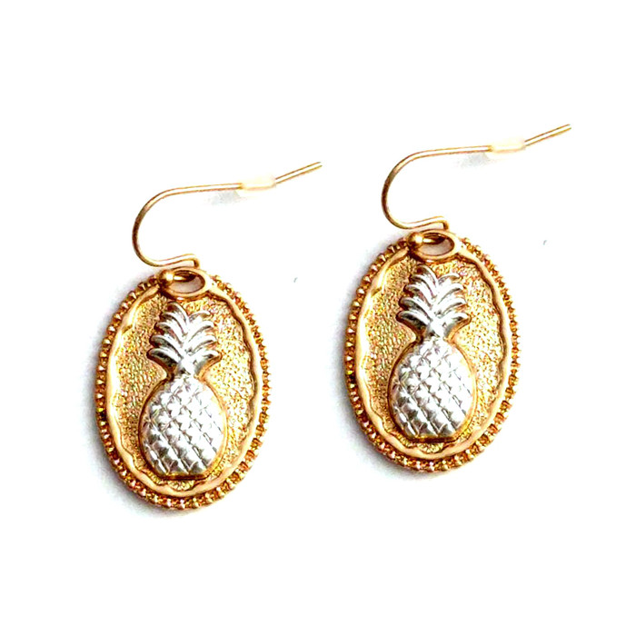 Silver and Gold Pineapple Cameo Drop Earrings