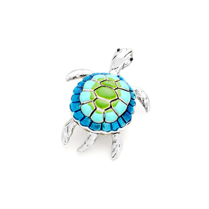 Blue and Green Enameled Silver Sea Turtle/Honu Pin