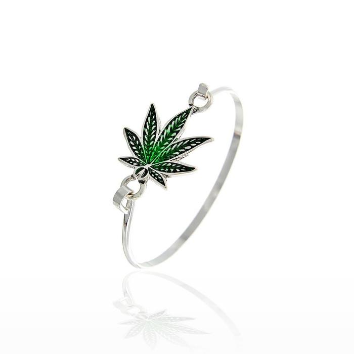 Green Enameled Cannabis/Hemp/Marijuana Leaf Bangle