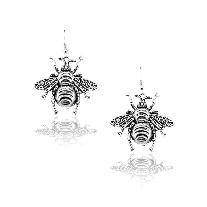 Large Antiqued Silver Bee Drop Earrings