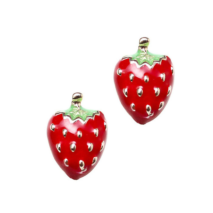 Golden Strawberry Post Earrings with Red Enamel