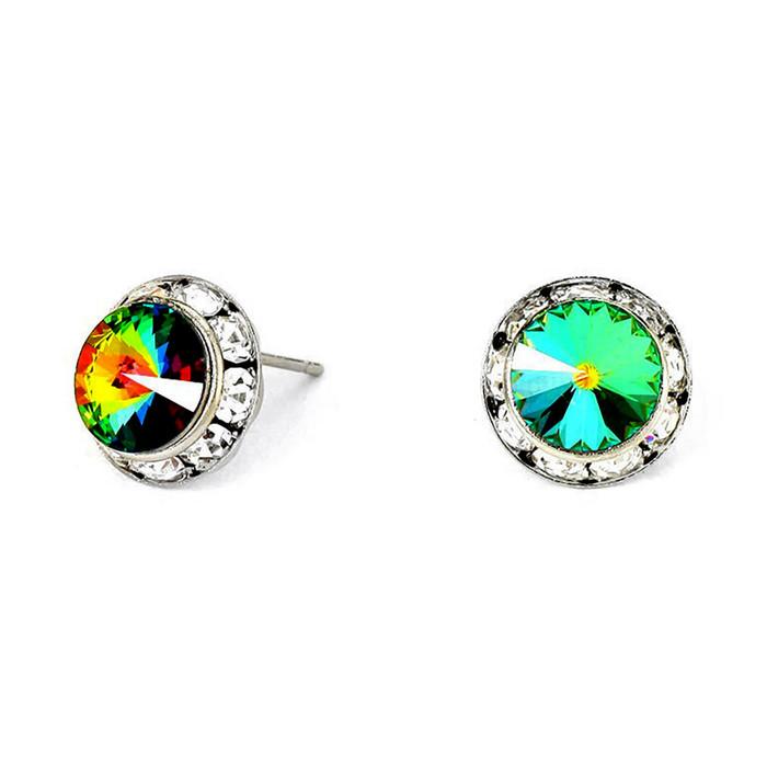 Dark Vitrail Austrian Crystal Bezeled Post Earrings