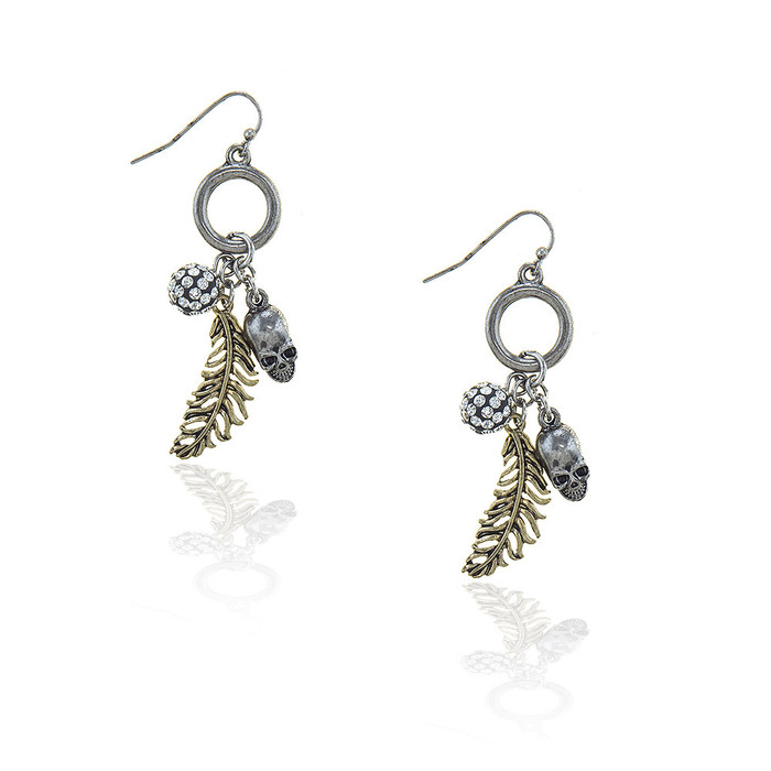 Antiqued Silver Skull and Crystal Fireball Drop Earrings with Golden Feather