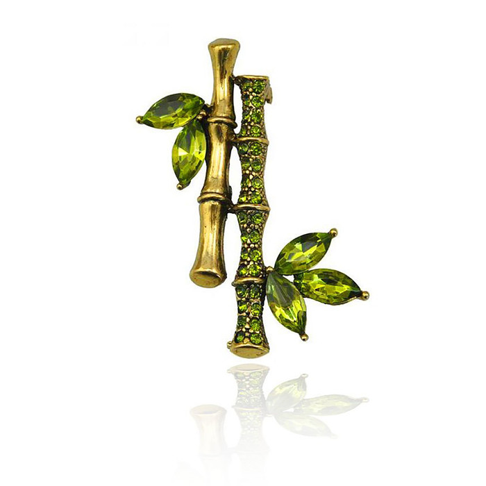 Antiqued Gold and Green Bejeweled Bamboo Pin