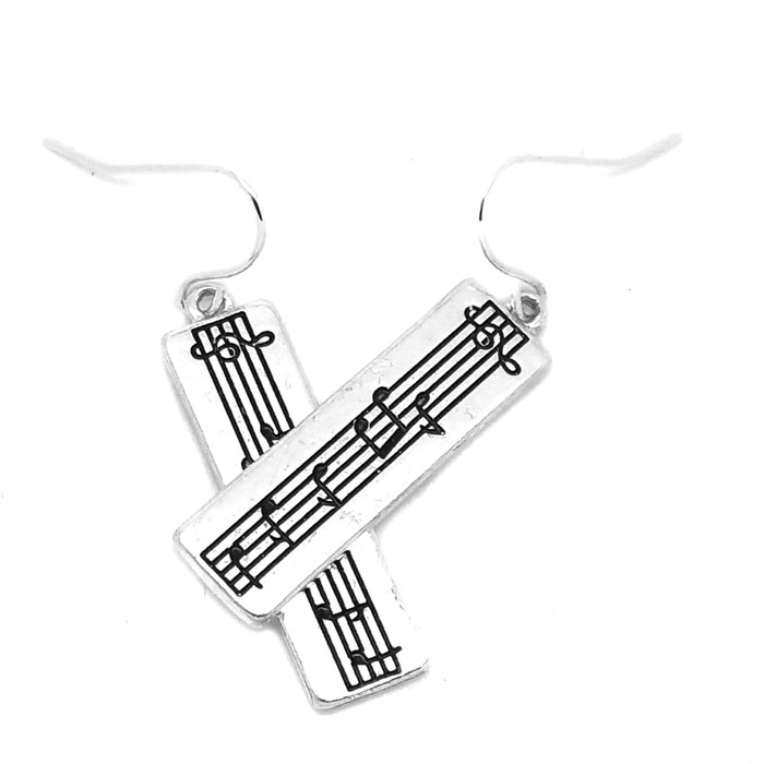 Small Silver Rectangle Sheet Music Drop Earrings