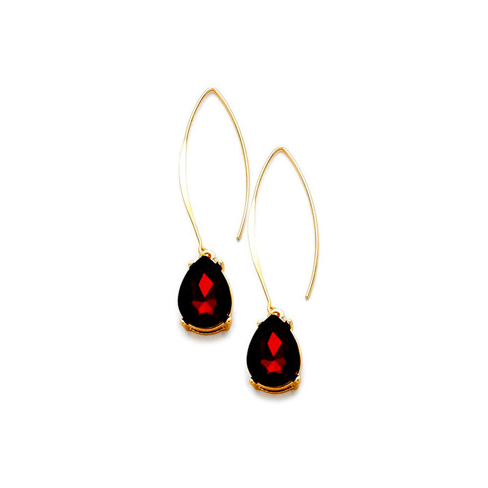 Gold and Red Teardrop Crystal Long Hook Drop Earrings
