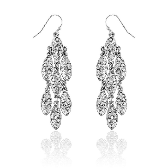 7+7 Silver Marquis Cluster Chandelier Earrings with Clear Crystals