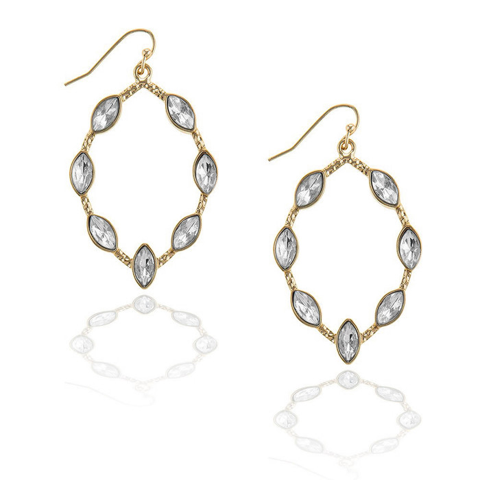 Golden Marquis Drop Earrings with Clear Marquis Crystal Detail