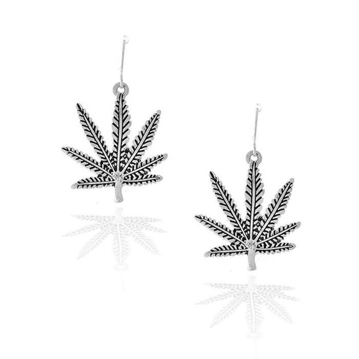 Antiqued Silver Marijuana/Cannabis/Hemp Leaf Drop Earrings