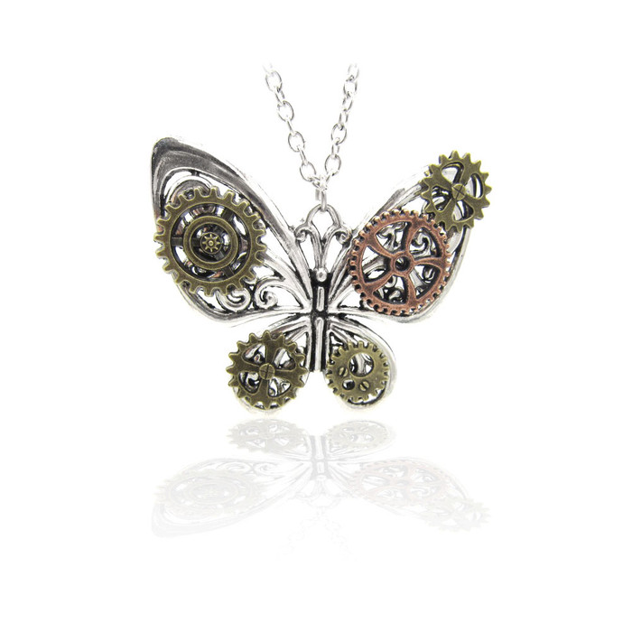 Antiqued Silver Butterfly Steampunk Pendant Necklace