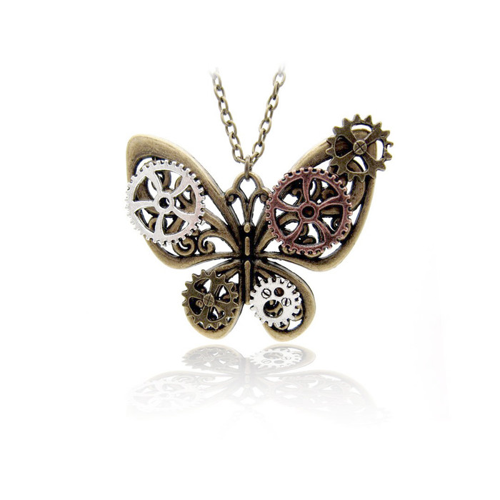 Antiqued Gold Butterfly Steampunk Pendant Necklace