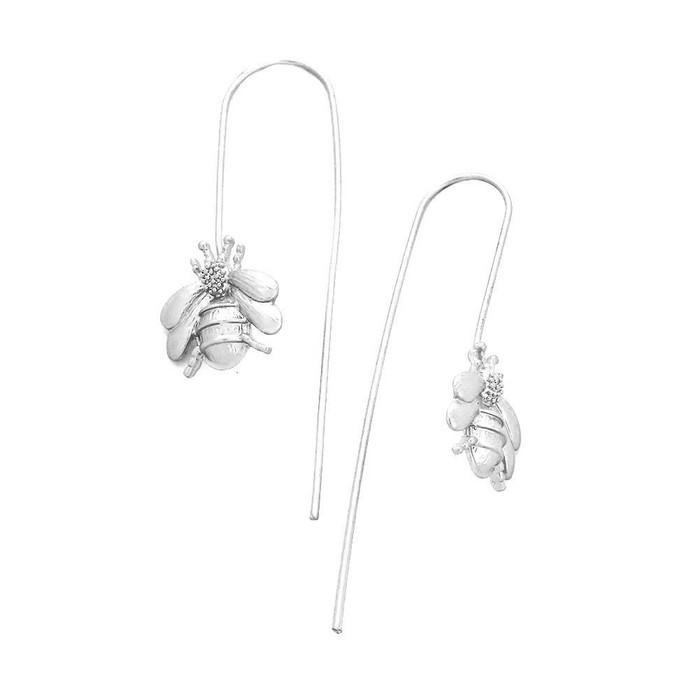Silver Bee Long Hook Drop Earrings