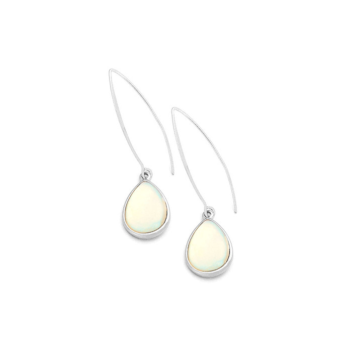 Silver and Mother Of Pearl Teardrop Cabochon Long Hook Drop Earrings