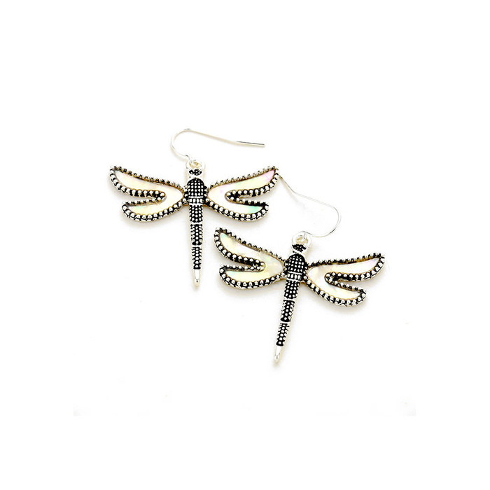 Antiqued Silver Dragonfly Drop Earrings with Mother Of Pearl Wings