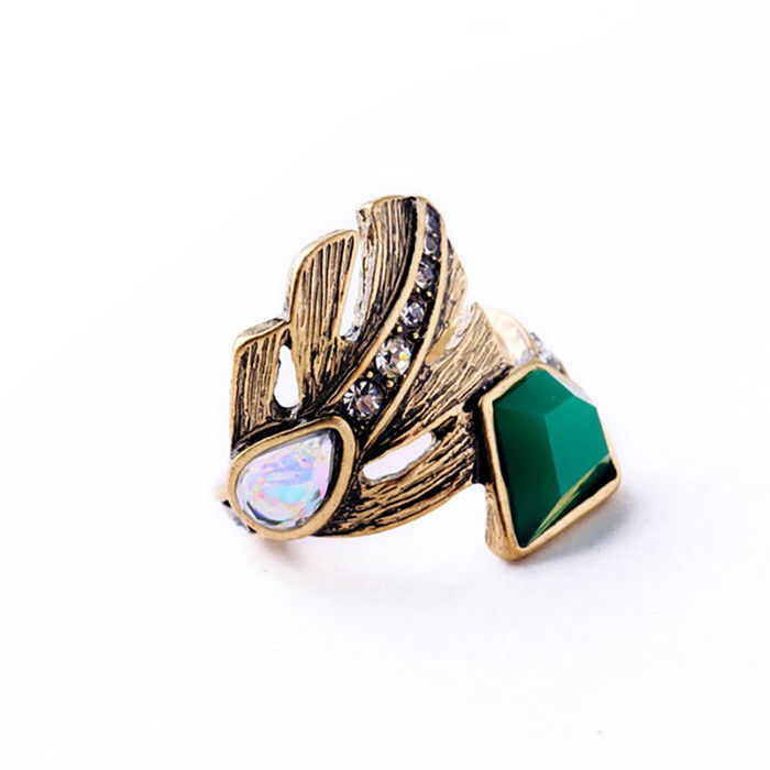 Antiqued Golden Philodendron Leaf Ring with Crystal Detail (Size 7)
