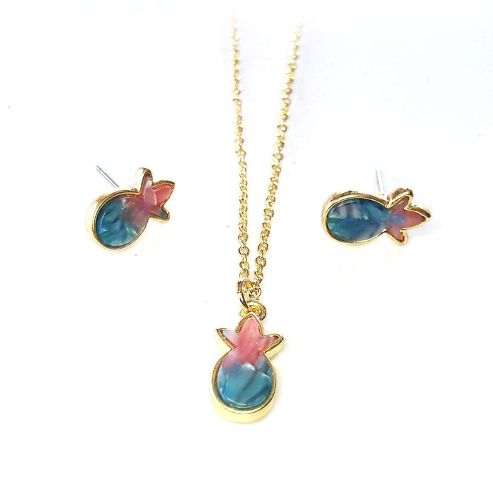 Sunset Celluloid Miniature Pineapple Necklace and Post Earring Set