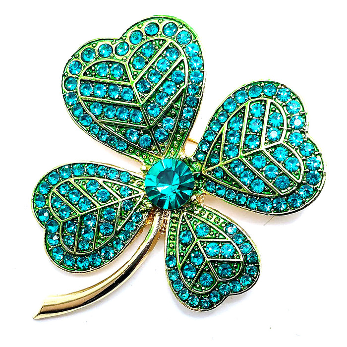 Bejeweled Green Shamrock/Clover Pin