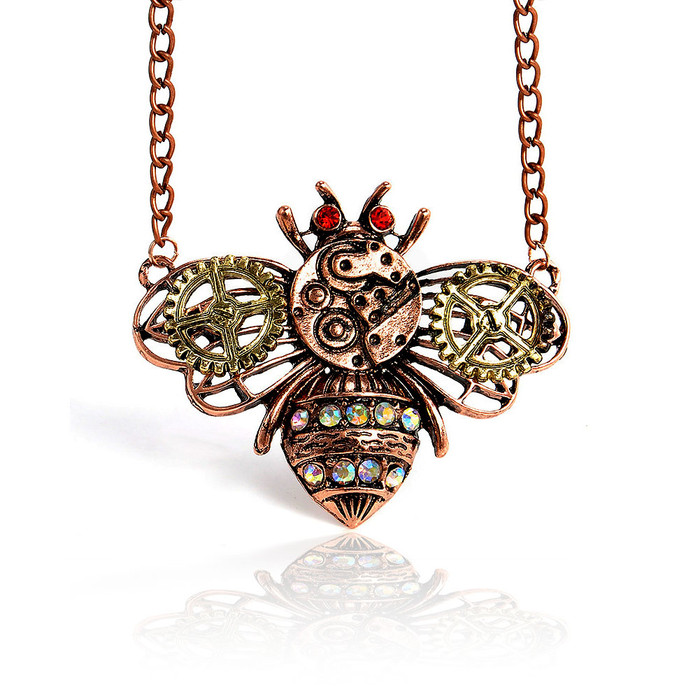 Steampunk Copper Bee Pendant Necklace
