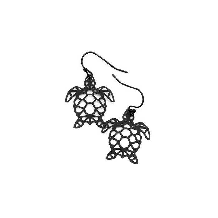 Feather-Light Black Sea Turtle/Honu Outline Drop Earrings