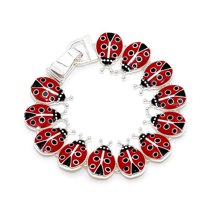 Enameled 12-Ladybug Bracelet