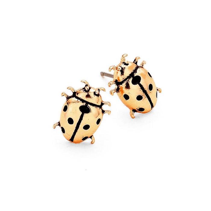 Golden Mini Ladybug Post Earrings (front)