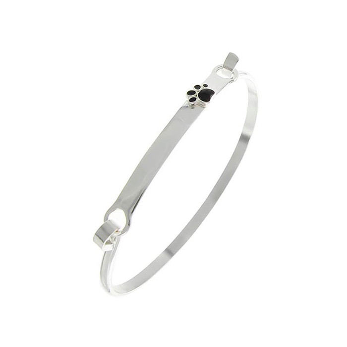 Silver and Black Enameled Paw Print Bangle