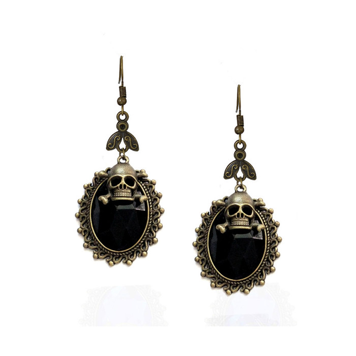 Jet Black Crystal Steampunk Drop Earrings with Antiqued Gold Bezel and Skull Charm