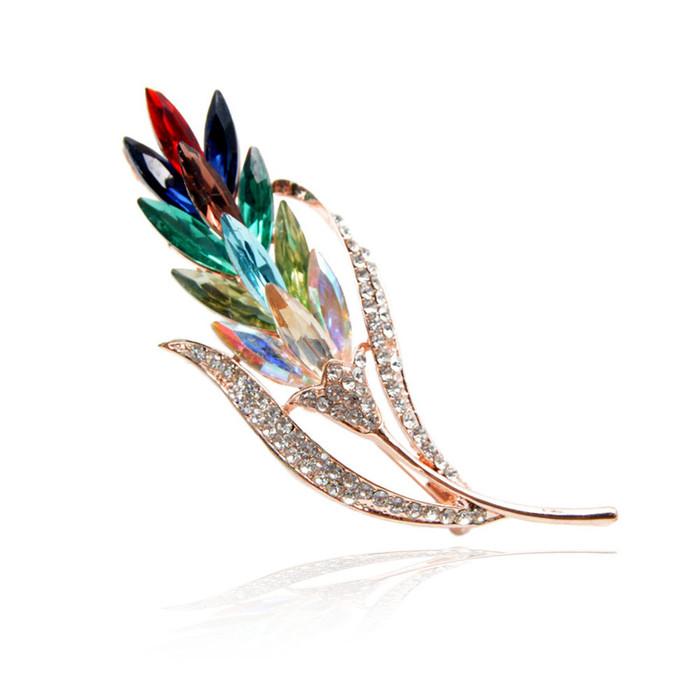 Rainbow Crystal Ginger Flower Pin