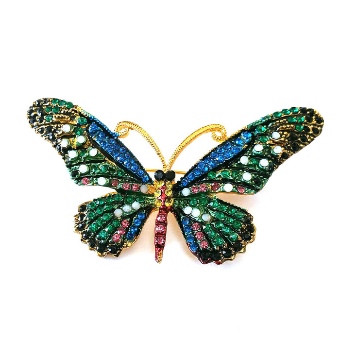 Large Teal and Royal Blue Crystal Butterfly Pin/Brooch